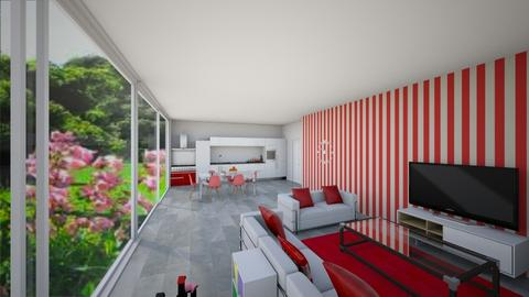 Red and white living room - Retro - Living room - by TziviaS