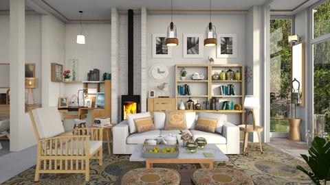 M_ White and oak - Living room - by milyca8