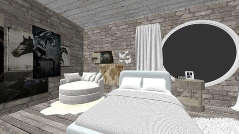 Gray and White Bedroom  - Bedroom - by DreamDayz