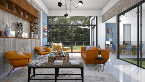 AZUL E LARANJA - Living room - by Roberta Coelho