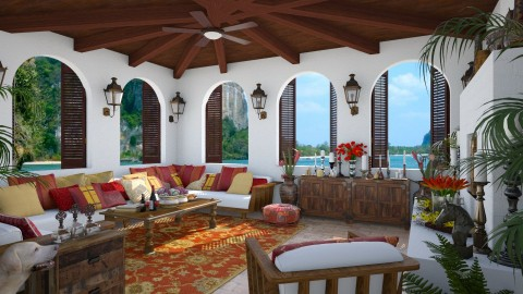 Design 147 Brazilian Beach House - Living room - by Daisy320