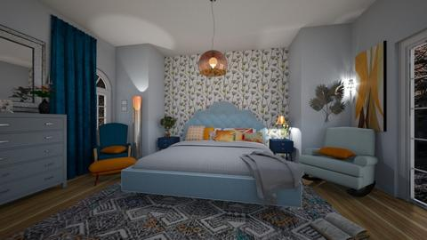 Orange Blue Interior - Bedroom - by libra23
