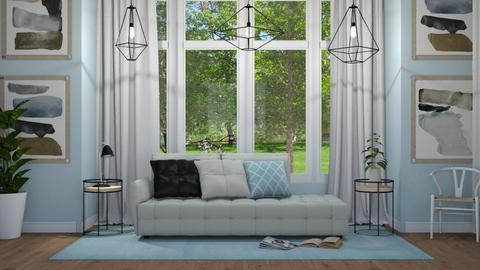 Blue Baywindow Living - Modern - Living room - by NEVERQUITDESIGNIT