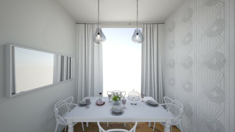 white apartment_dining room - by annsal