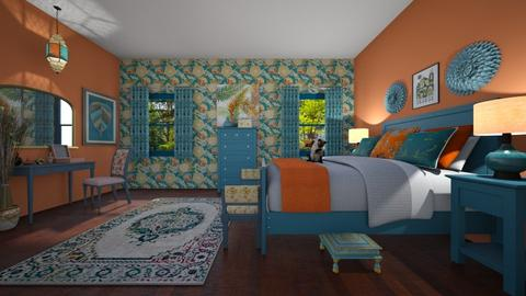 Orange and Blue Bedroom  - Bedroom - by Kelly Carter