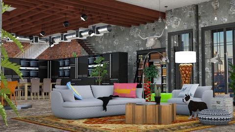Loft - Living room - by elephant in savanna
