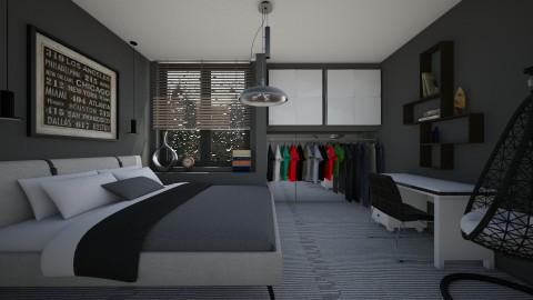 Grey - Minimal - Bedroom - by Veny Mully