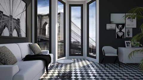 BW Checkered 2 - Classic - Living room - by millerfam