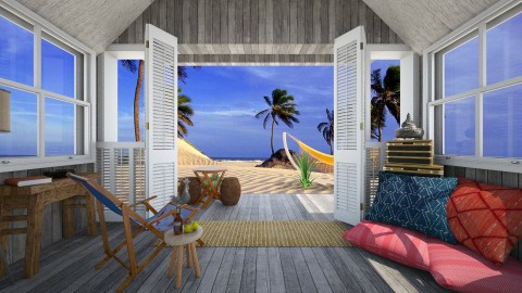 hut - Rustic - Living room - by donella