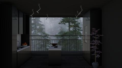 black kitchen - by sabamnf98
