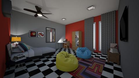 teenage room - Bedroom - by fu zi ya