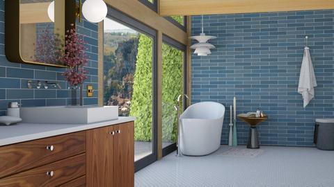 Mid century blue bath - Retro - Bathroom - by HenkRetro1960