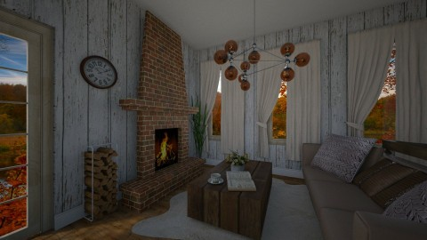 cottage living room - by PoukInteriors