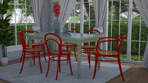Blue and red - Dining room - by Tuija