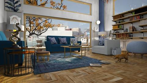 Gold_and_Blue - Living room - by ZuzanaDesign