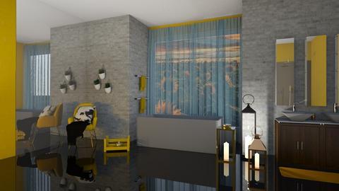yellow bathroom - by mollysamuel