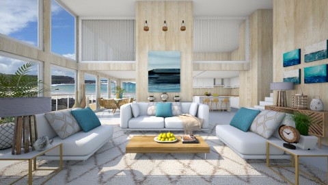 Summer Beach House - Living room - by Ash Williams