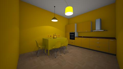 yellow wood dinning and k - Modern - Kitchen - by jade1111