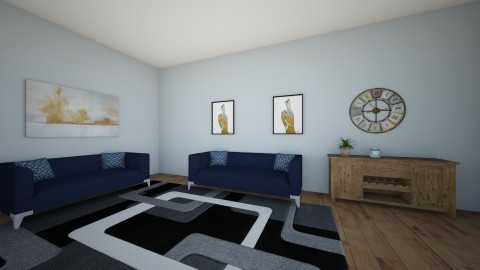 modern rustic blue - Living room - by bitbird123
