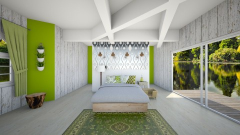 Green - Country - Bedroom - by Paean
