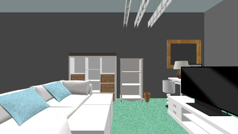 white and a touch of blue - Modern - Living room - by beachgirl1295