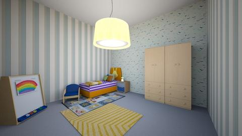 blue and orange - Minimal - Kids room - by doodle2000