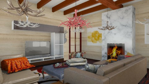 chic cabin - Living room - by lesiecastle