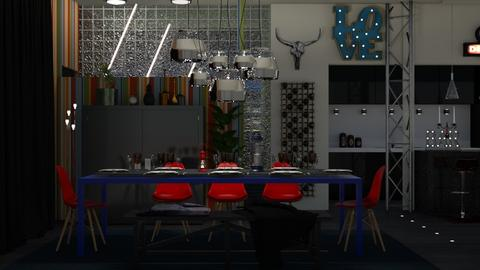 blue and red - Dining room - by elyssaumber
