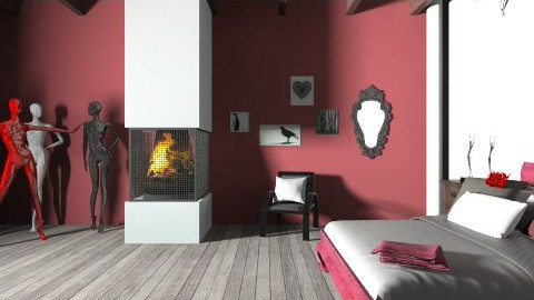 Red Glamour - Modern - Bedroom - by xcgirl