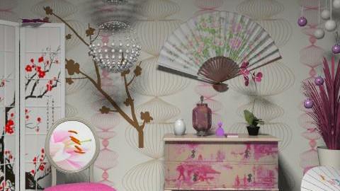 Pink - Feminine - Living room - by szalaiedit