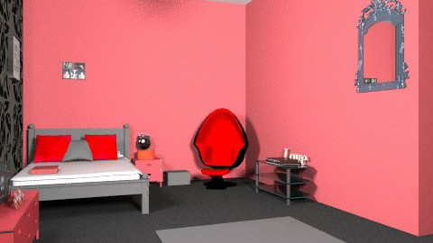 red bedroom - Modern - Bedroom - by chelsiemia
