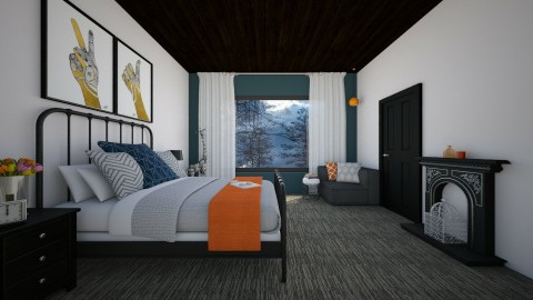 dark and stormy with a pop of orange - Bedroom - by stephaniedelios1992