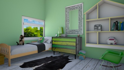 Green bedroom - Bedroom - by Gaberoo