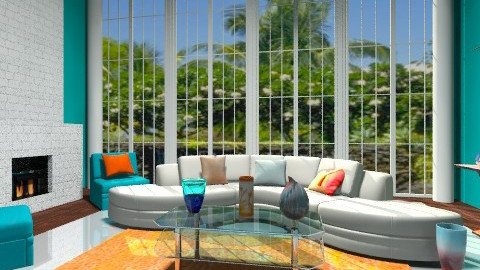 Cool Blue Living Room - Eclectic - Living room - by wiljun