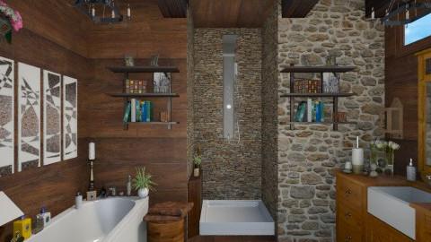 bathroom wood stone - Bathroom - by sacikae
