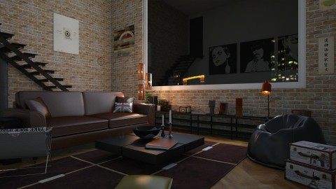 industrial living room - by rebonmars