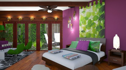 Purple and Green bedroom - by JustBeautifulInteriors
