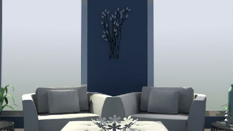 white and blue - Living room - by eleesha06