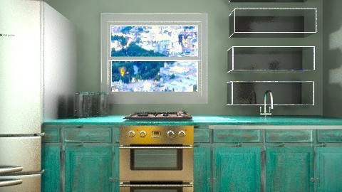 Turquoise Clear Kitchen  - Modern - Kitchen - by vanessa_designs