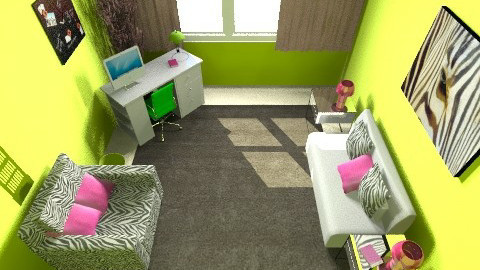 Zebra Green and Pink - Retro - Bedroom - by PaxAmor