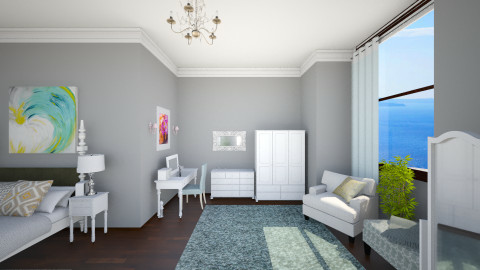 turquoise - Feminine - Bedroom - by katy d