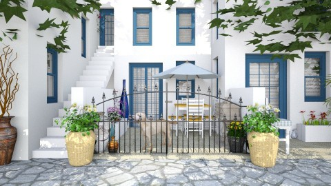 Design 86 Greek Neighborhood Street - Garden - by Daisy320