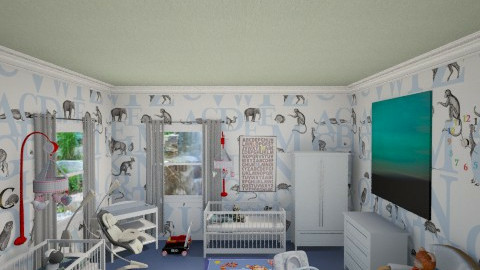 TWIN BABY BOYS ROOM - Minimal - Kids room - by DiamondJ569