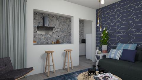 sala cozinha azul - Living room - by Tainaraa