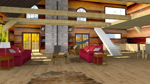 Modern Log Cabin - Country - Living room - by toothpastespot