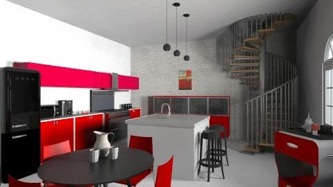 Red Chic Cucina - Retro - Kitchen - by raphaelfernandesdesign