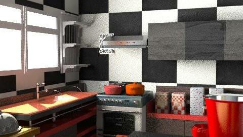 red kitchen - Retro - Kitchen - by sumz78