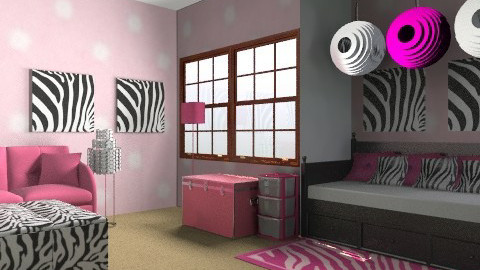 pink and zebra - Bedroom - by cici45