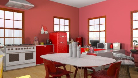 Red-Withe - Retro - Kitchen - by emina995
