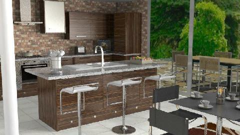 Contemporary Chocolate Kitchen - Kitchen - by Gloria B
